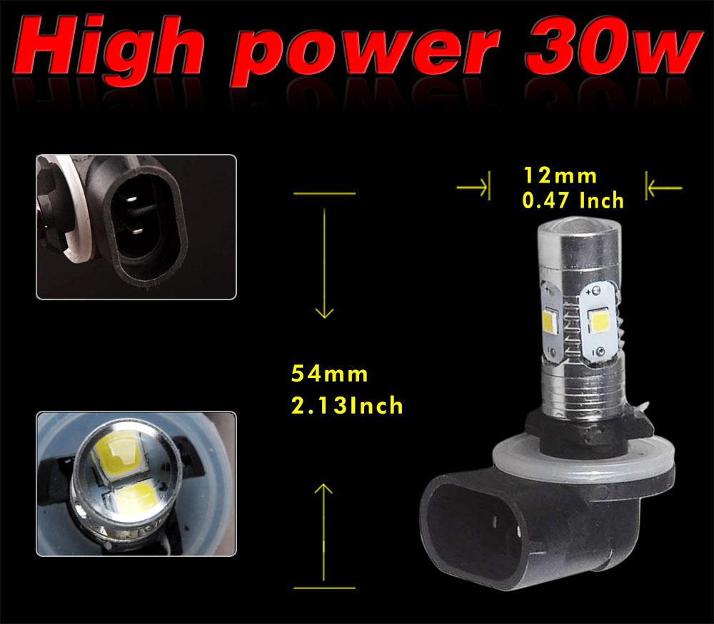 24v 30x Led Cluster: 2X High Power OSRAM 881 30W LED 12V-24V White Fog Driving