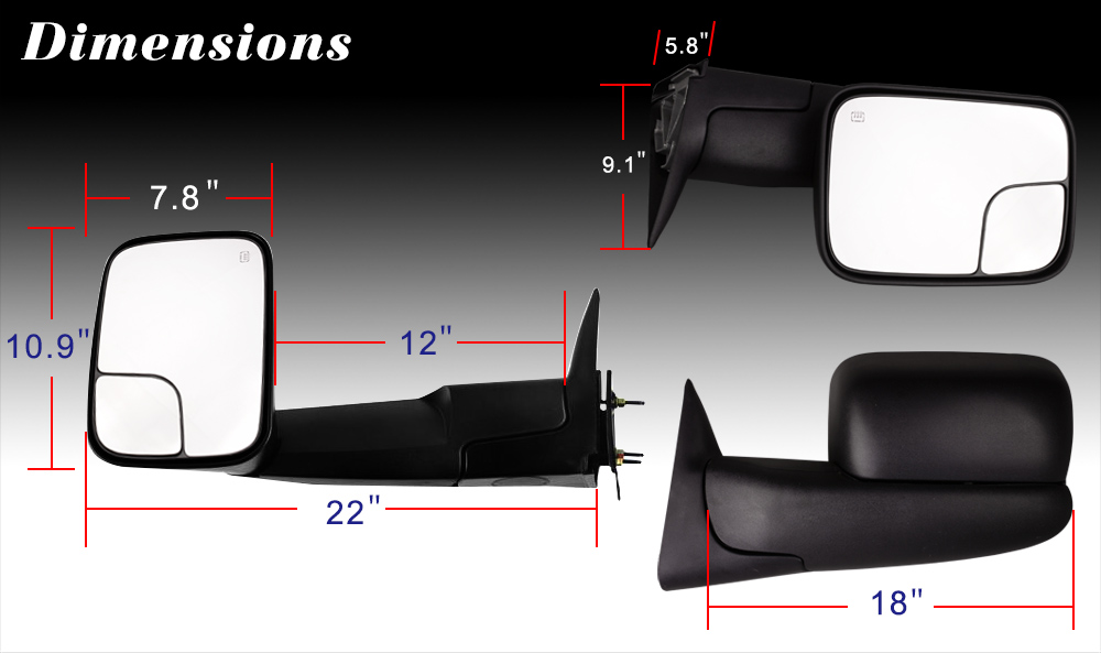 Towing Mirrors Pair For 98 01 Dodge 1500 Amp Ram98 02 2500