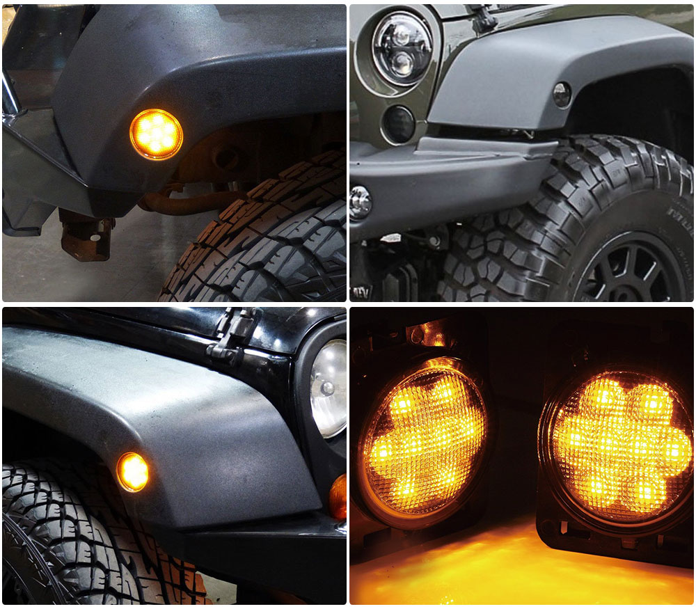 2x Smoked Turn Signal Fender Parking Led Light For Jeep
