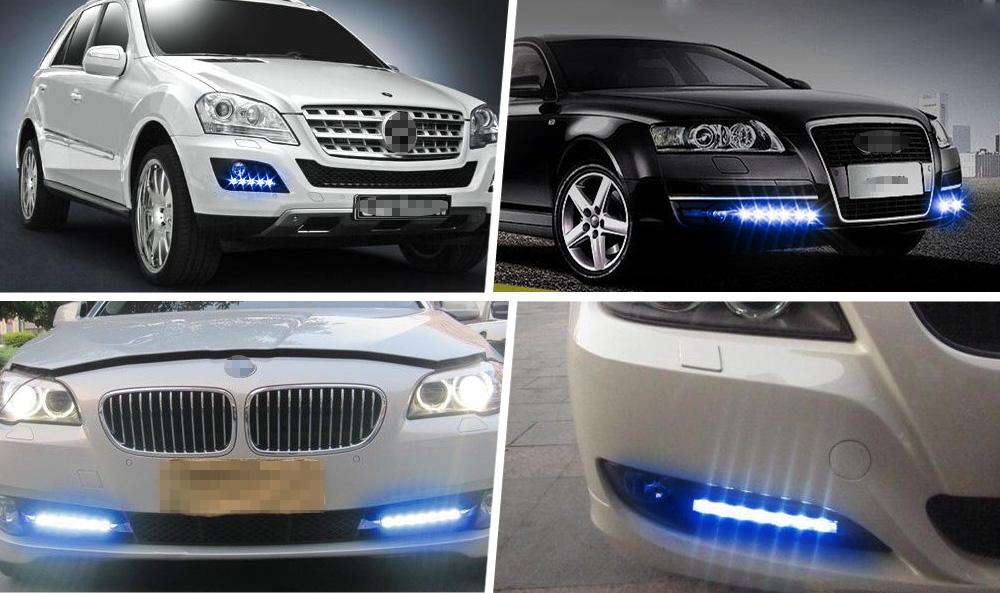 2x Ice Blue Car Auto Cob Led Lights Drl Daytime Running
