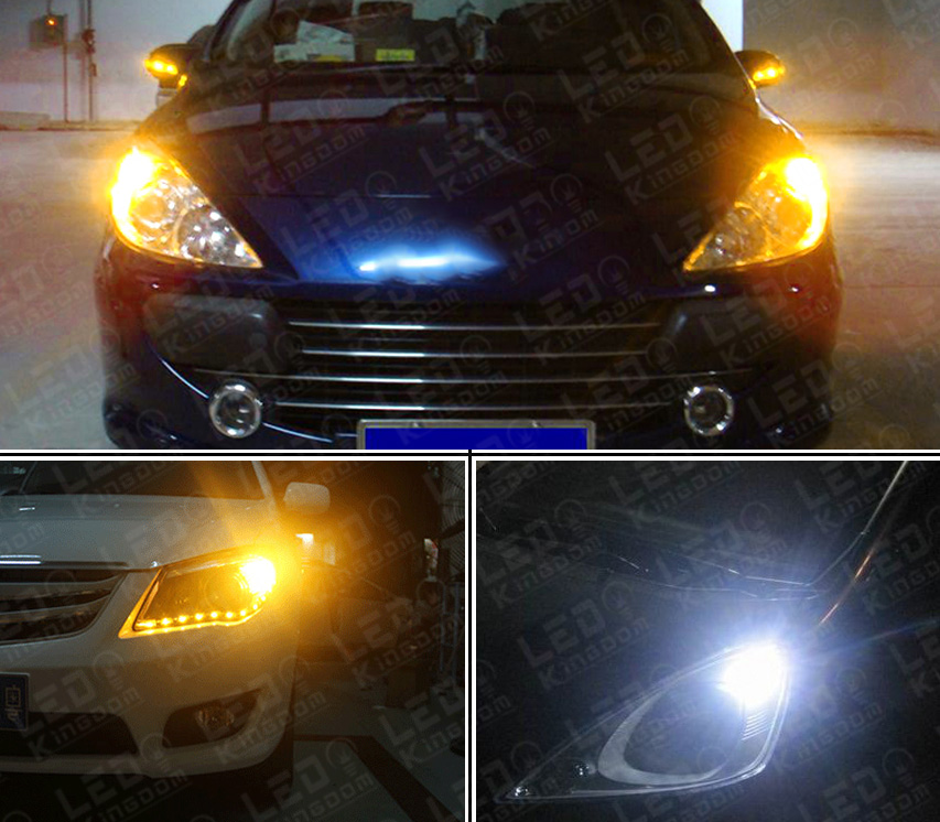 2x 3157 Dual Color Switchback Amber White Led Turn Signal