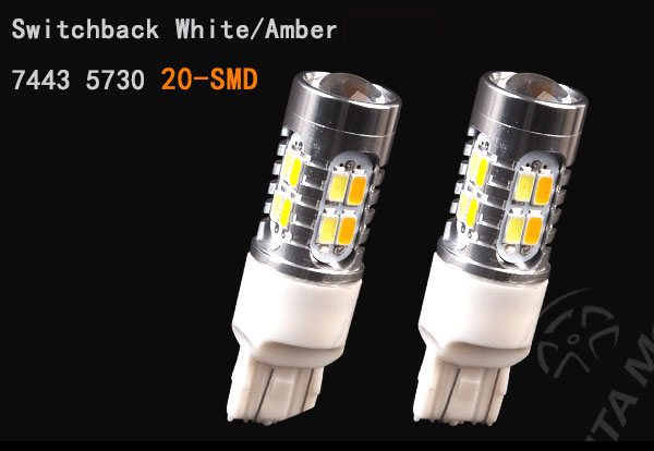 2x 7443 Switchback Dual Color White Amber 5730 20 Led Tail