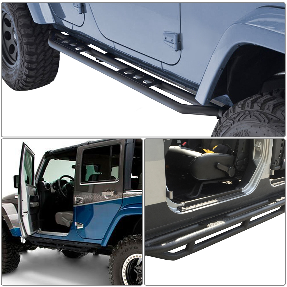 For 07-18 Jeep Wrangler JK 4 Door Steel Side Step Armor