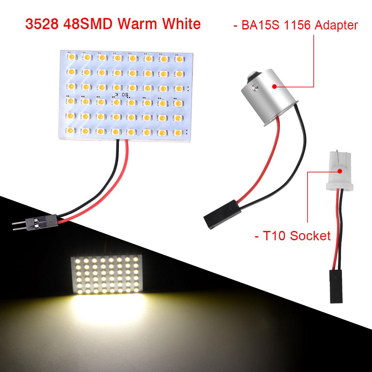 10Pcs Warm White 48-SMD Panel Interior Dome Map LED Light+Festoon+BA15S 1156+T10