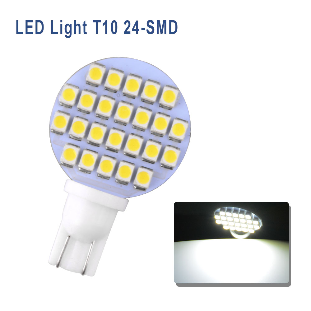 10x Super Bright 4.8W Warm White T10 1210 Car Wedge 24SMD LED Light Bulb 12V