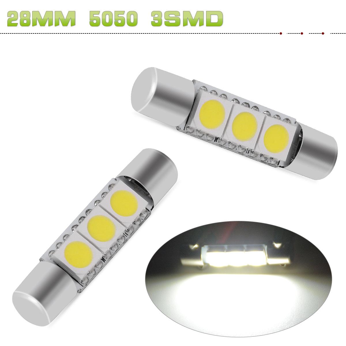 2x 10x White 5050 3SMD 28-31mm LED Bulb For Car Visor Vanity Mirror Dome Light