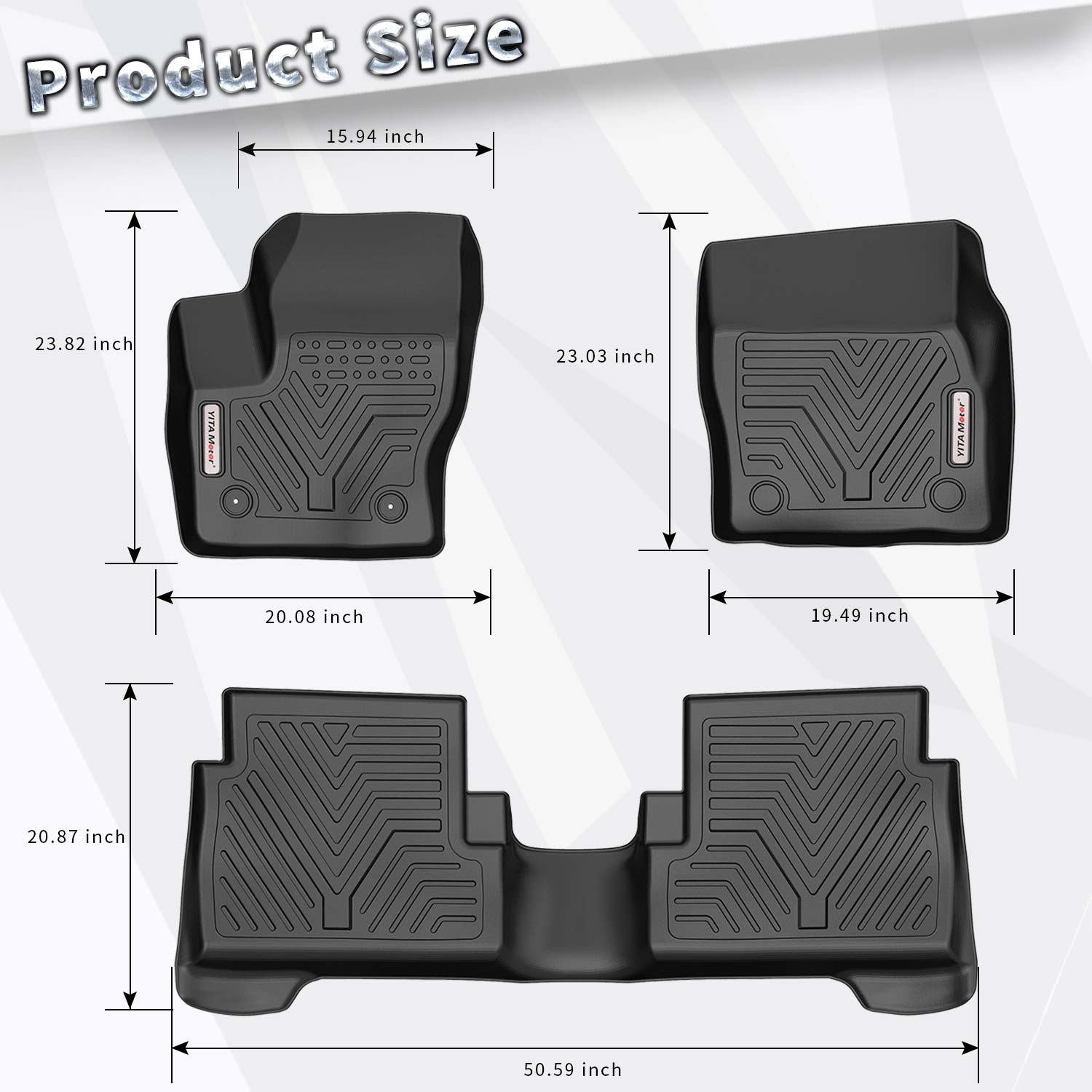 oEdRo Floor Mats Compatible for 2015-2019 Ford Escape Unique Black TPE All-Weather Guard Includes 1st and 2nd Row: Front Full Set Liners Rear