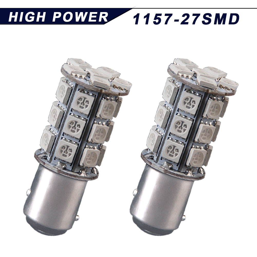 2X Amber Yellow 1157 BAY15D 5050 27-SMD LED Turn Signal Parking Light 1157A 7528