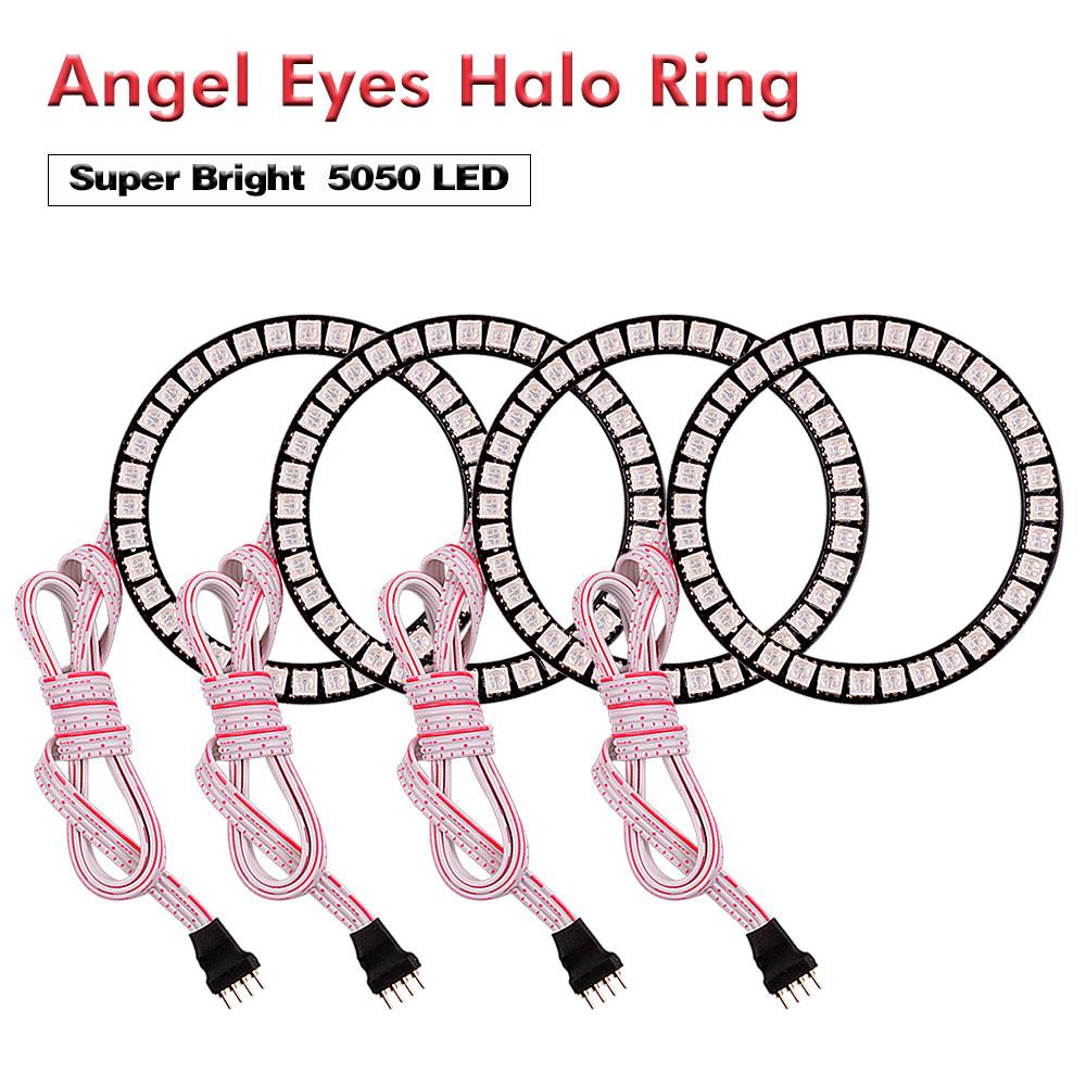 4x 80MM LED RGB 5050 Flashing Angel Eyes Halo Ring Bulbs Remote kit Multi-color