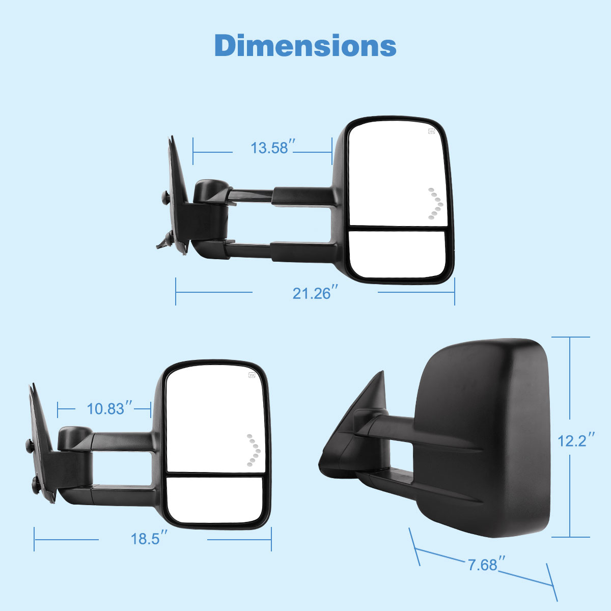Power Heated Led Signals Tow Mirrors For 03 06 Chevy