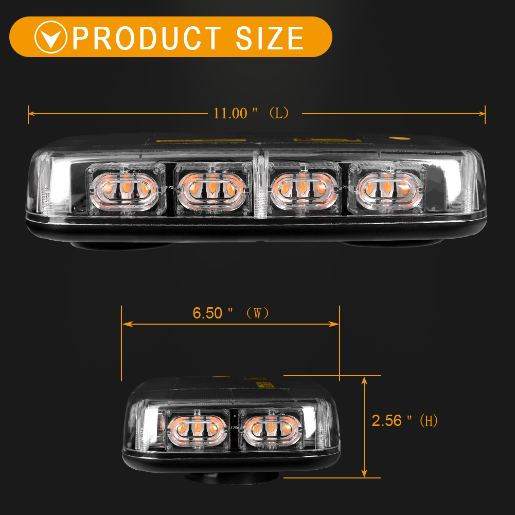 36 Led 30w Strobe Lights Bar Roof Security System Emergency Hazard Flash Amber