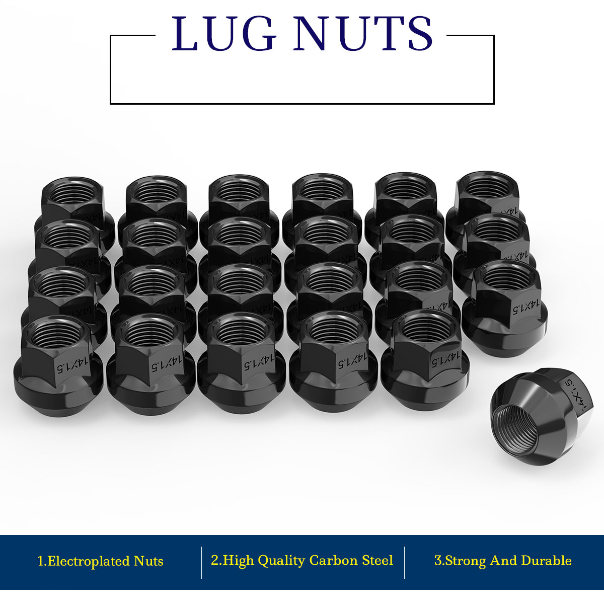 10 14x1.5 OPEN-END ACORN 21MM HEX SHORT WHEEL LUG NUTS FORD CHEVY GMC DODGE
