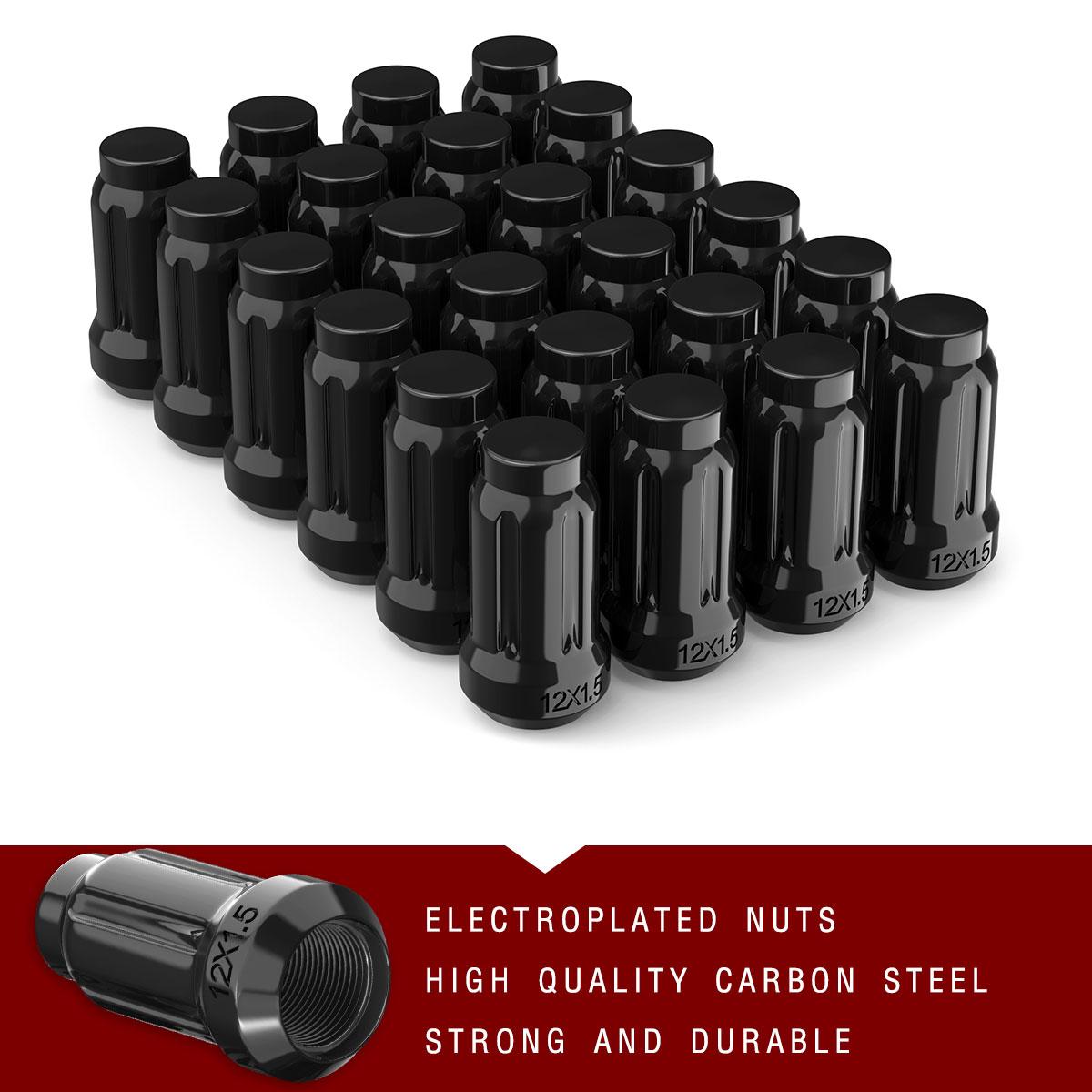 24 Black Spline Lug Nuts 12x1.5 + 2 Keys For Hyundai Honda